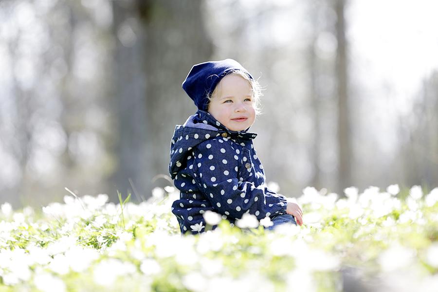 Vitsippefotografering, fotograf Phia Bergdahl, Västervik