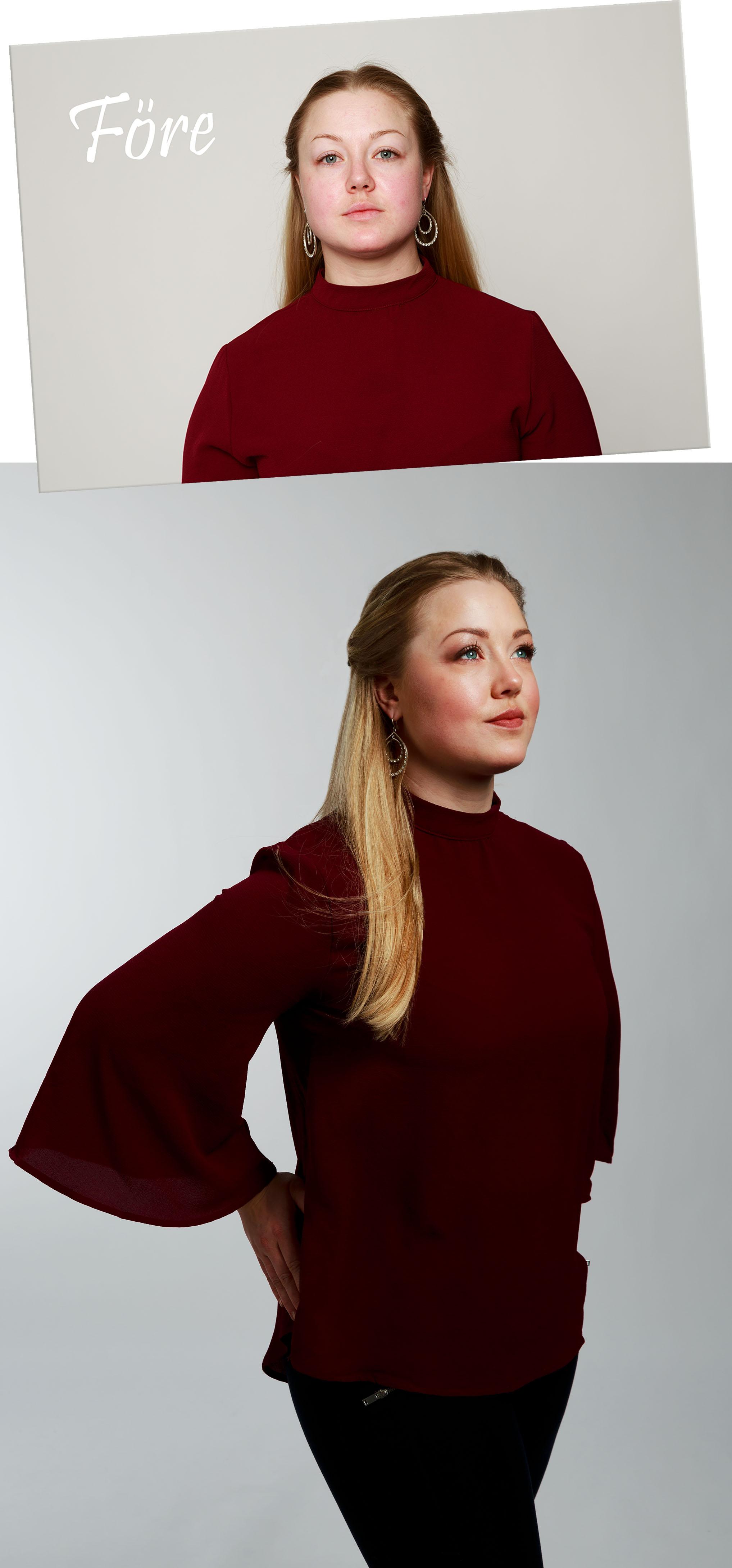 Osminkad bild och färdig bild från modellfotografering